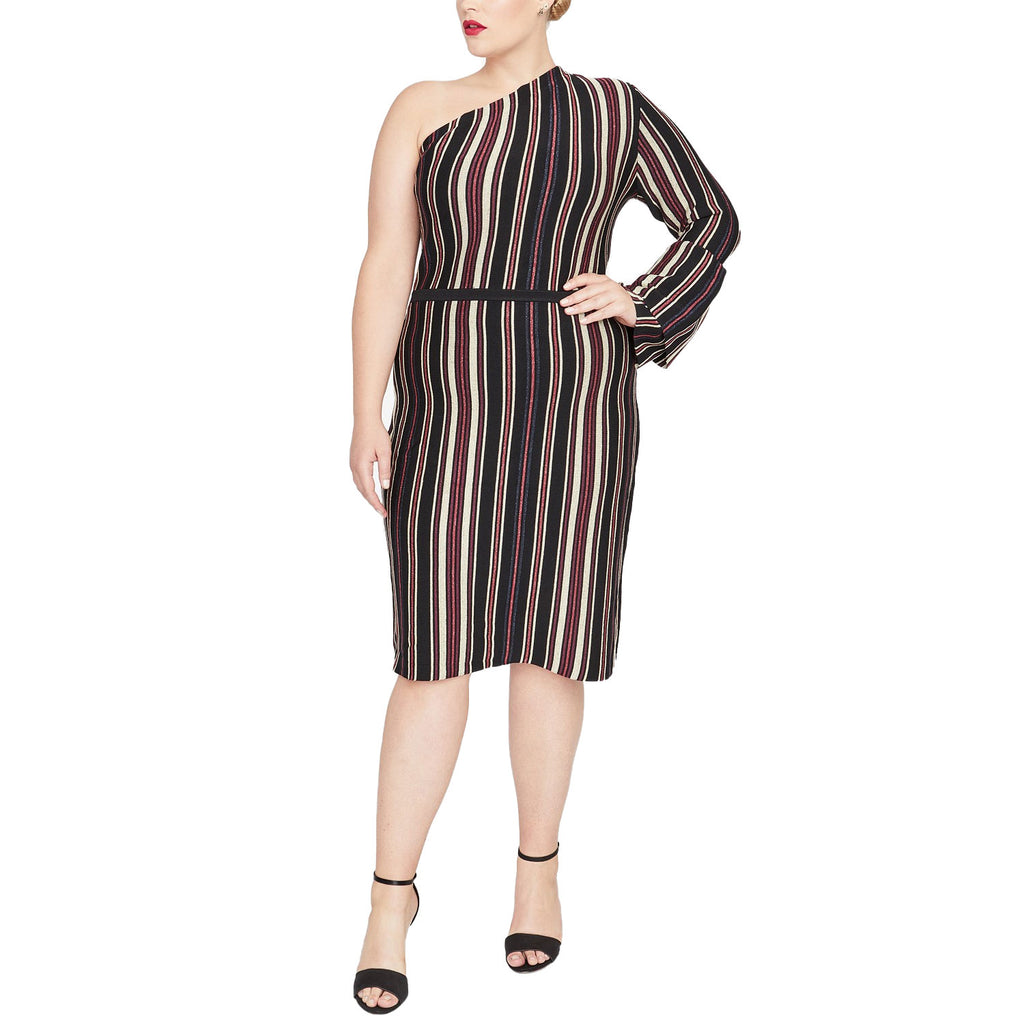Rachel Roy Stripe One Shoulder Sweater Dress Size 2X Muse Boutique Outlet | Shop Designer Plus Size Dresses on Sale | Up to 90% Off Designer Fashion