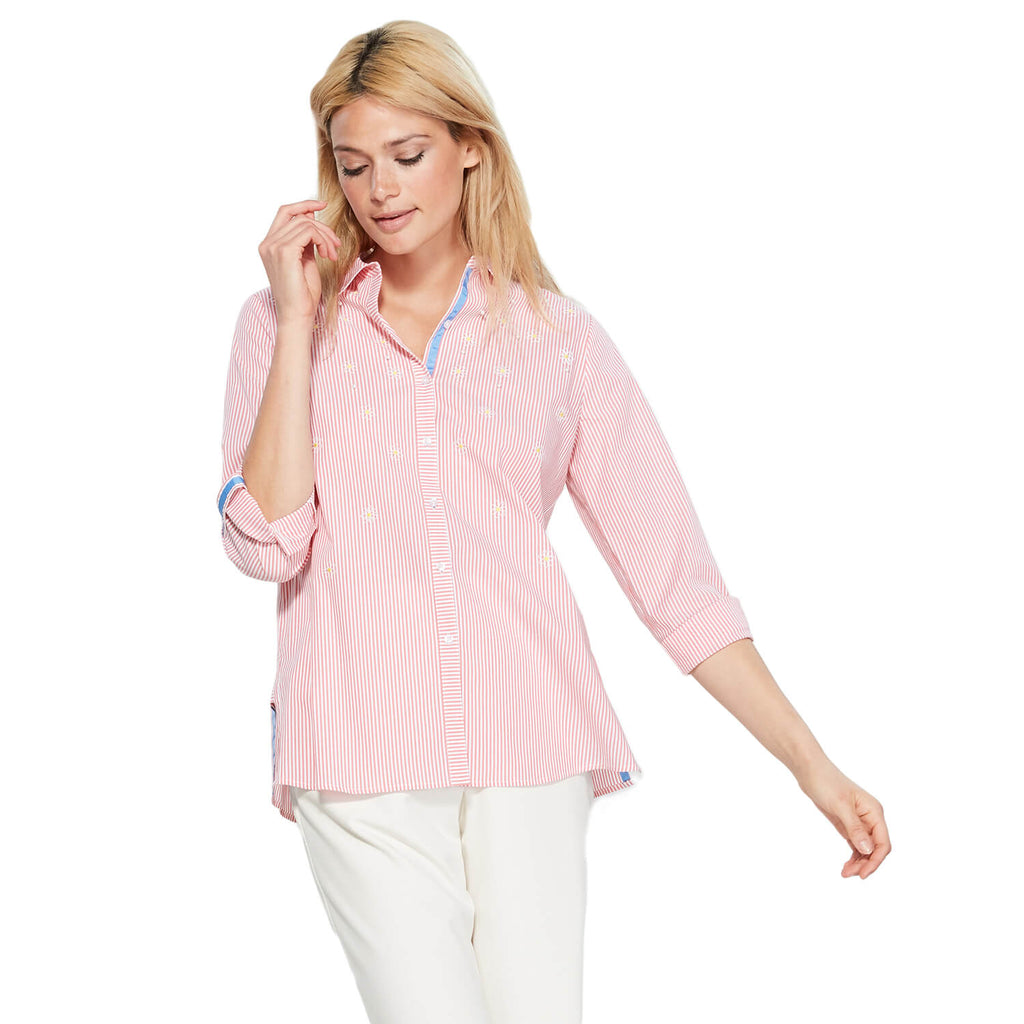Rafaella Pink Striped Embellished Button Down Size 3X Muse Boutique Outlet | Shop Designer Clearance Tops on Sale | Up to 90% Off Designer Fashion