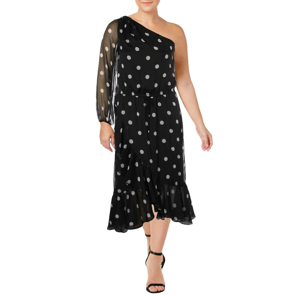 Lauren by Ralph Lauren Black One Shoulder Polka Dot Dress Size 10 Muse Boutique Outlet | Shop Designer Dresses on Sale | Up to 90% Off Designer Fashion