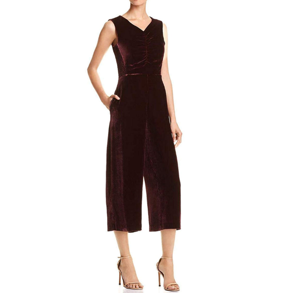 Rebecca Taylor Bordeaux Velvet Ruched Jumpsuit Size 4 Muse Boutique Outlet | Shop Designer Rompers & Jumpsuits on Sale | Up to 90% Off Designer Fashion
