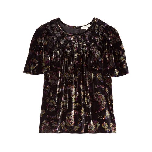 Rebecca Taylor Jewel Smocked Velvet Top 0 Charcoal Muse Boutique Outlet