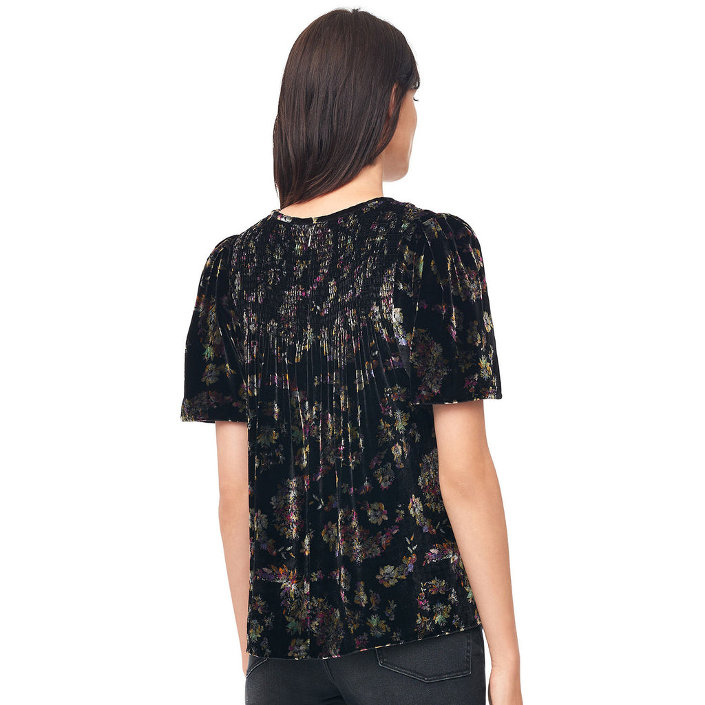 Rebecca Taylor  Jewel Smocked Velvet Top Size  Muse Boutique Outlet | Shop Designer Short Sleeve Tops on Sale | Up to 90% Off Designer Fashion