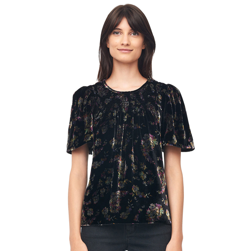 Rebecca Taylor Charcoal Jewel Smocked Velvet Top Size 0 Muse Boutique Outlet | Shop Designer Short Sleeve Tops on Sale | Up to 90% Off Designer Fashion