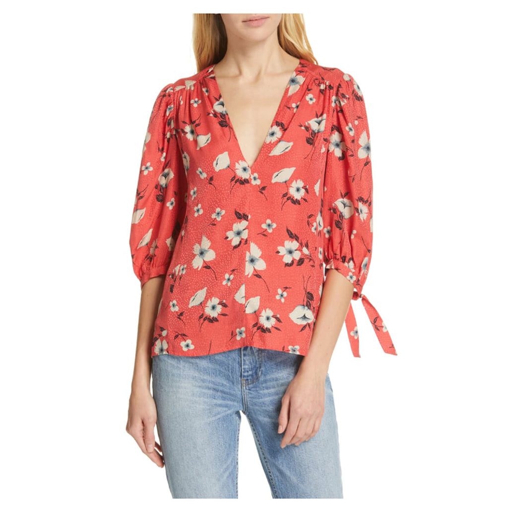Rebecca Taylor Punch Combo Daniella Silk Floral Tie Sleve Top Punch Size 8 Muse Boutique Outlet | Shop Designer Three Quarter Sleeve Tops on Sale | Up to 90% Off Designer Fashion