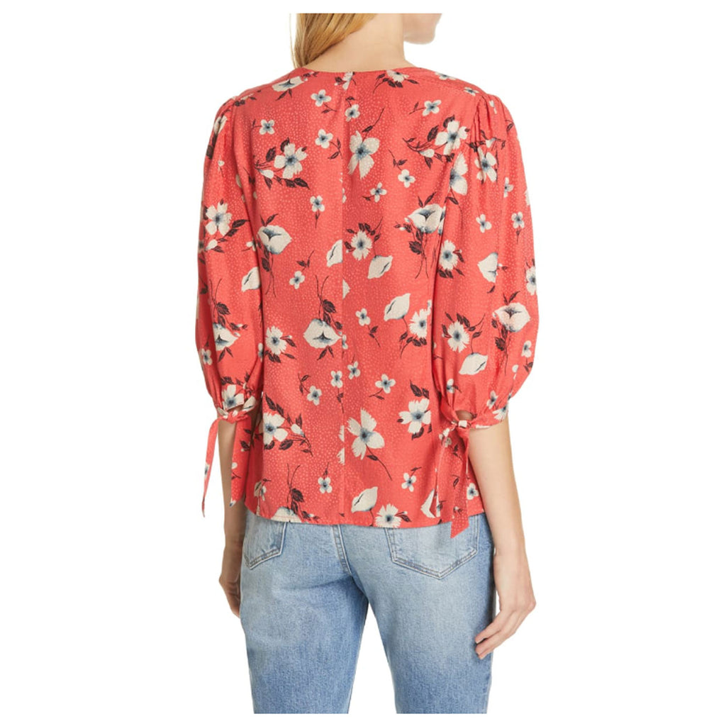 Rebecca Taylor  Daniella Silk Floral Tie Sleve Top Punch Size  Muse Boutique Outlet | Shop Designer Three Quarter Sleeve Tops on Sale | Up to 90% Off Designer Fashion