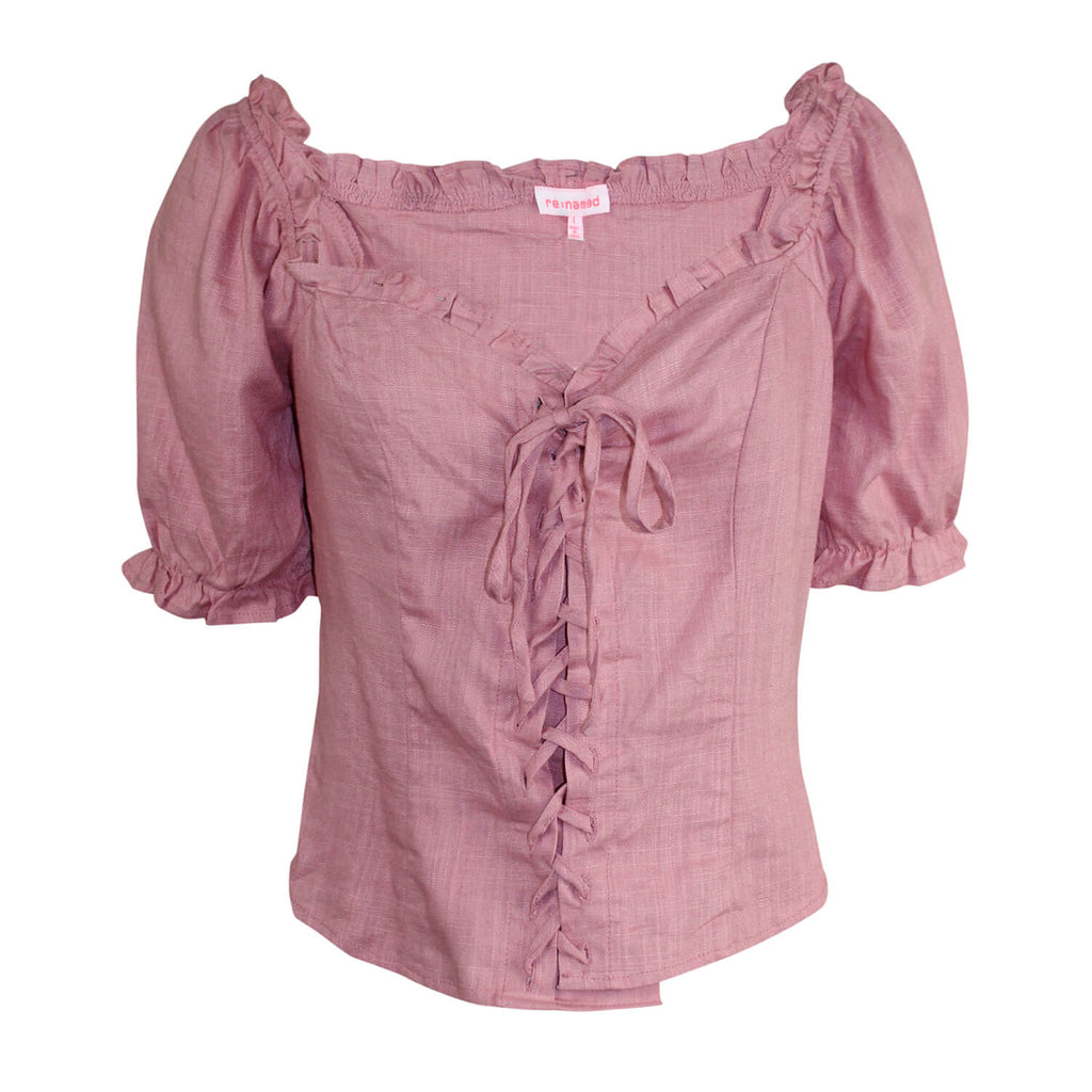 re:named Pink Pam Lace Up Ruffle Top Size Large Muse Boutique Outlet | Shop Designer Clearance Tops on Sale | Up to 90% Off Designer Fashion