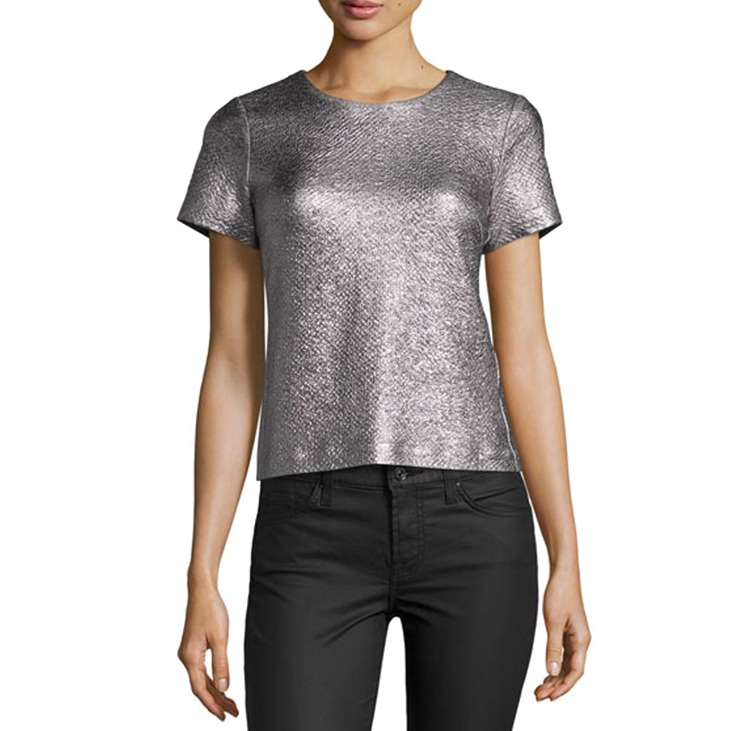 Rebecca Taylor Gunmetal Short Sleeve Textured Metallic Top Size 0 Muse Boutique Outlet | Shop Designer Clearance Tops on Sale | Up to 90% Off Designer Fashion