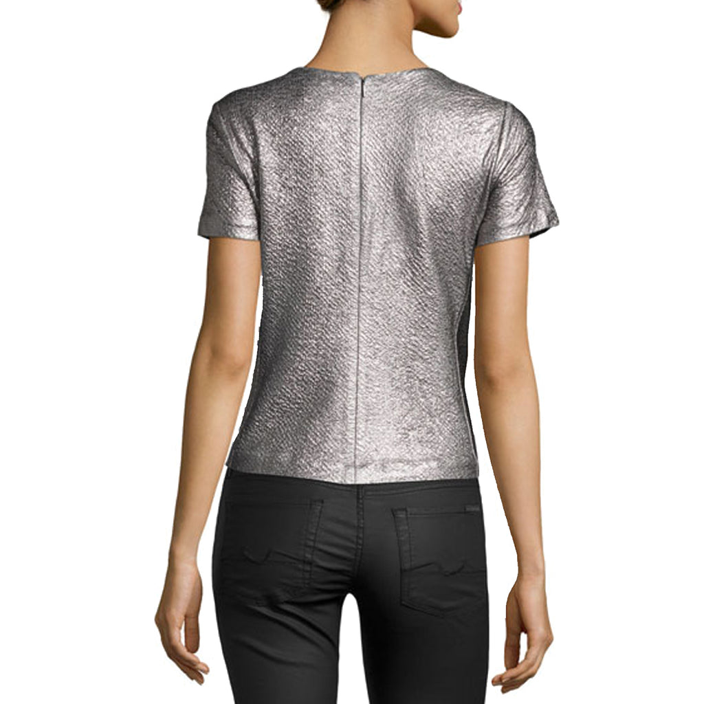 Rebecca Taylor  Short Sleeve Textured Metallic Top Size  Muse Boutique Outlet | Shop Designer Clearance Tops on Sale | Up to 90% Off Designer Fashion