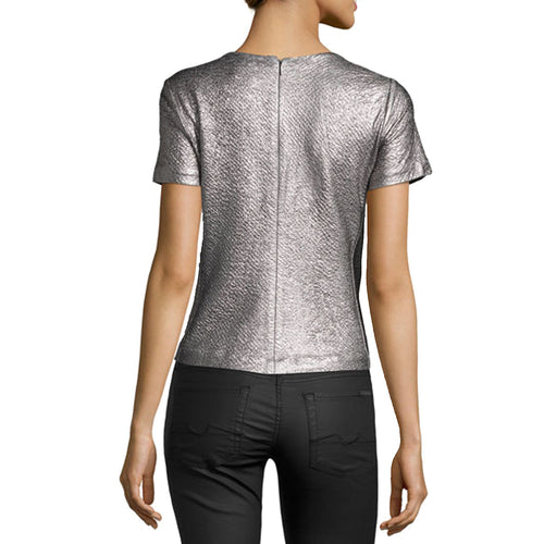 Rebecca Taylor Short Sleeve Textured Metallic Top   Muse Boutique Outlet