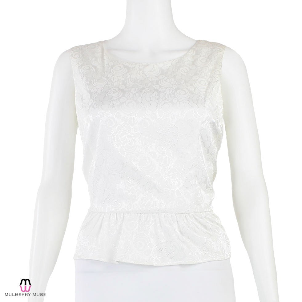 Moon Collection Ivory Rose Print Peplum Top Size Large Muse Boutique Outlet | Shop Designer Clearance Tops on Sale | Up to 90% Off Designer Fashion