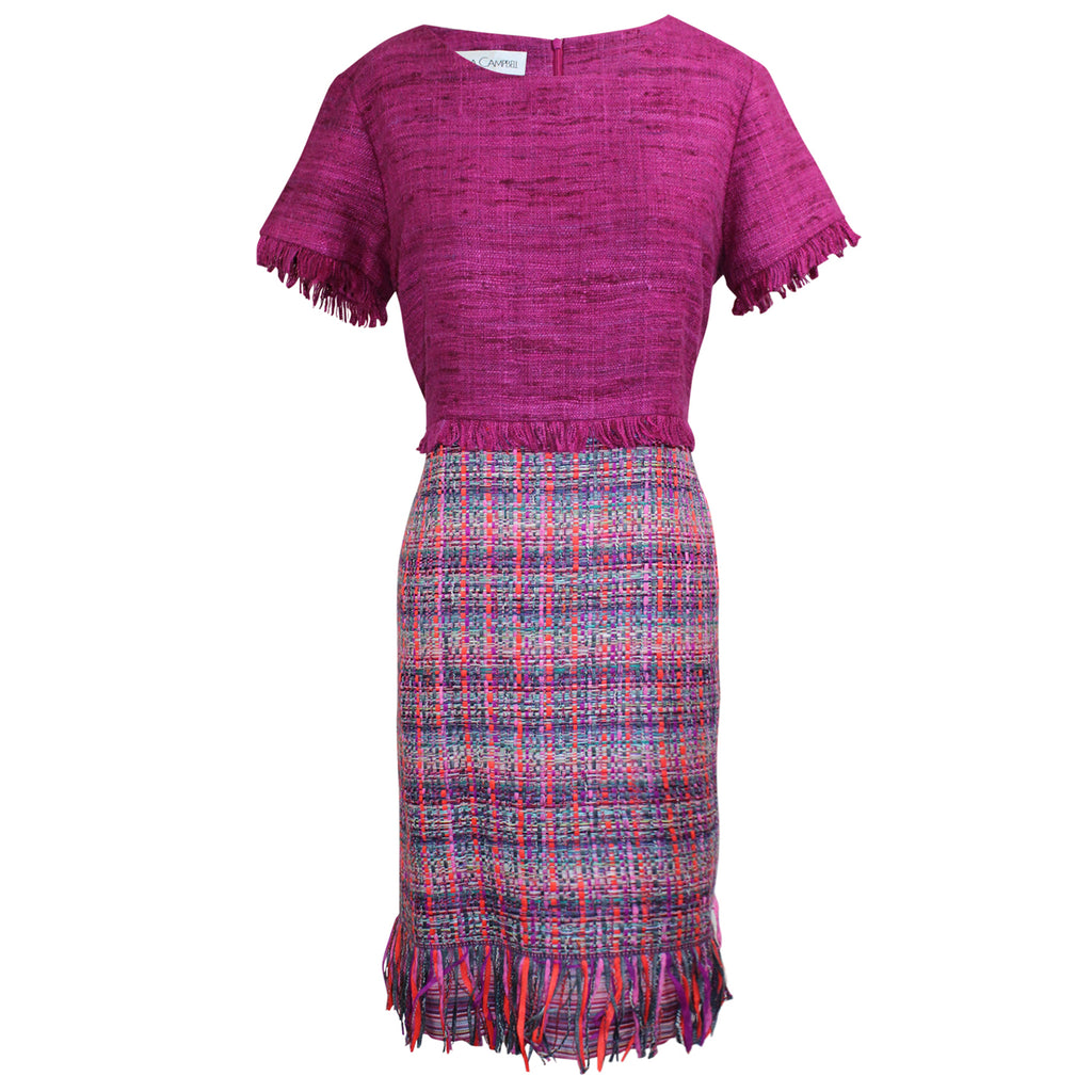 Sara Campbell Magenta Matka Tweed Fringe Dress Size 6 Muse Boutique Outlet | Shop Designer Dresses on Sale | Up to 90% Off Designer Fashion