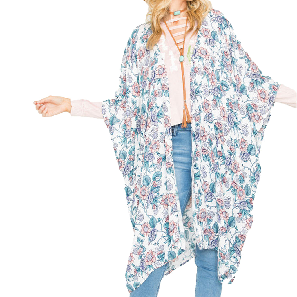 Sage The Label Ivory/Floral Floral Print Kimono Size Extra Small Muse Boutique Outlet | Shop Designer Clearance Tops on Sale | Up to 90% Off Designer Fashion