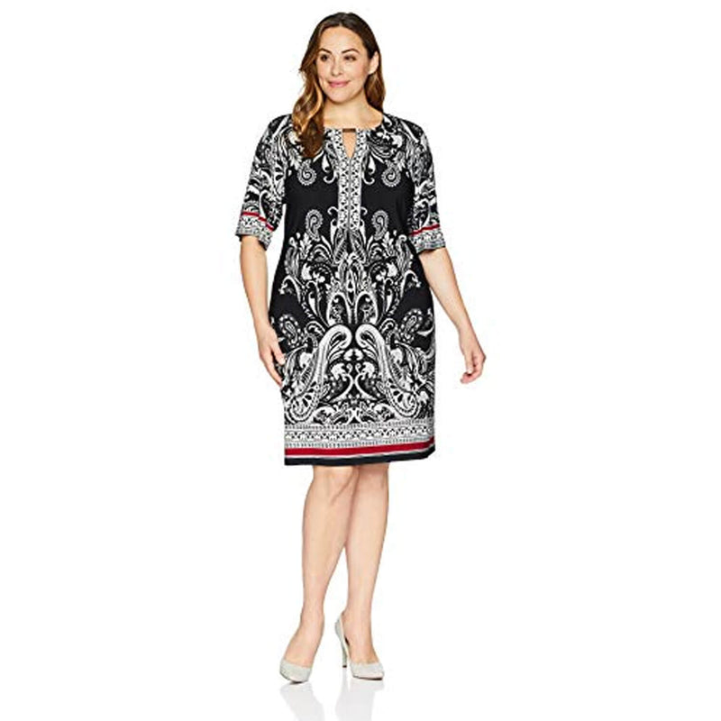 Sandra Darren Multi Paisley Print Dress Plus Size Size 1X Muse Boutique Outlet | Shop Designer Plus Size Dresses on Sale | Up to 90% Off Designer Fashion