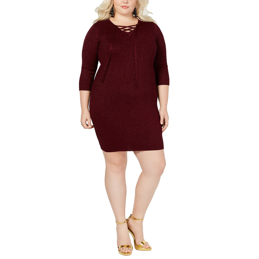 Say What? Red Lace-Up Detail Dress Size 2X Muse Boutique Outlet | Shop Designer Plus Size Dresses on Sale | Up to 90% Off Designer Fashion