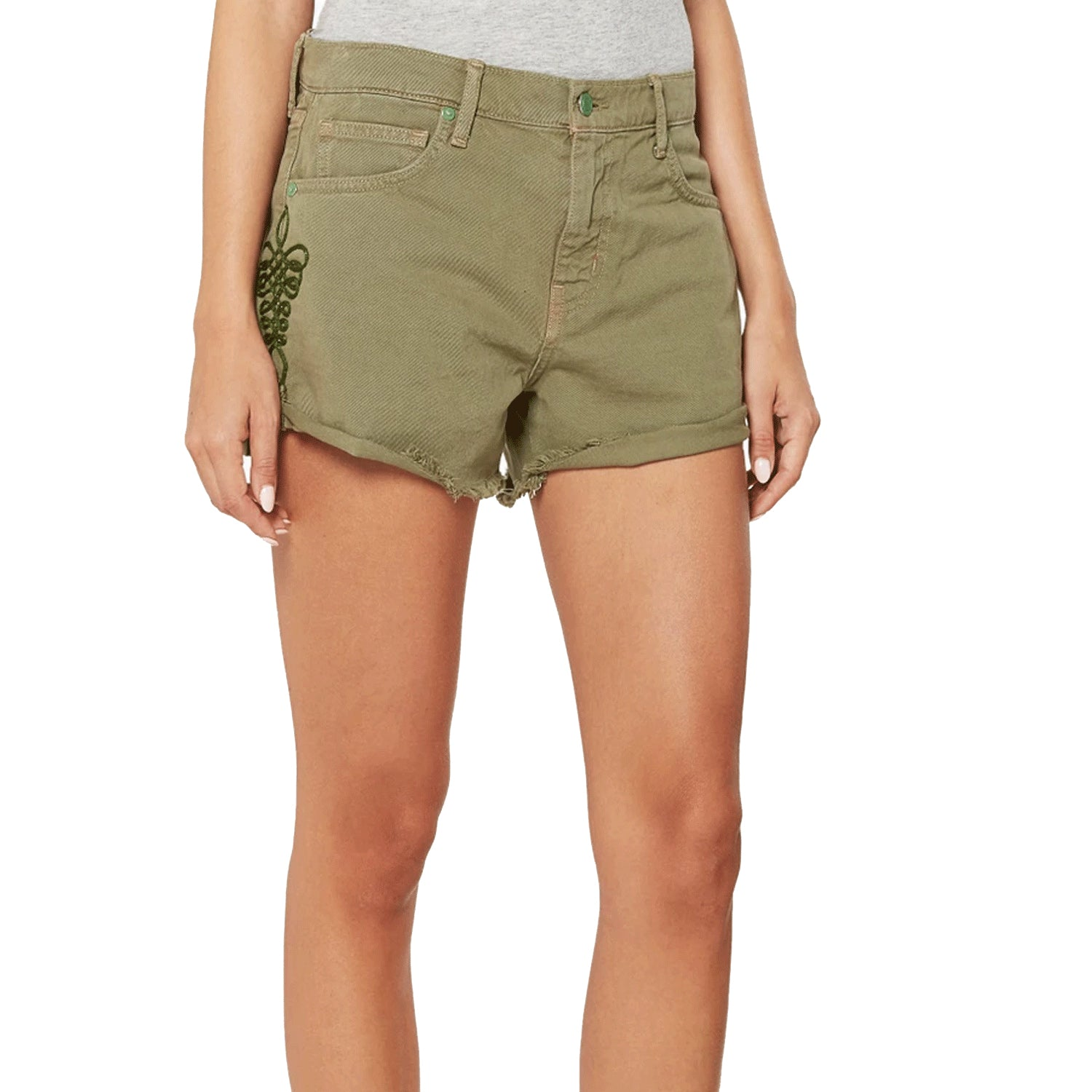 Sandrine Rose Embroidered Denim Cut Off Shorts 25 Army Green Muse Boutique Outlet