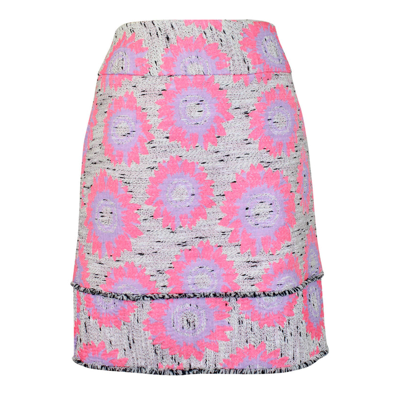 Sara Campbell Pink Floral Printed Tweed Skirt Size 10 Muse Boutique Outlet | Shop Designer Skirts on Sale | Up to 90% Off Designer Fashion