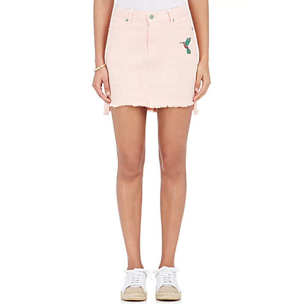 Sandrine Rose Pink Embroidered Denim Miniskirt Size 24 Muse Boutique Outlet | Shop Designer Clearance Skirts on Sale | Up to 90% Off Designer Fashion