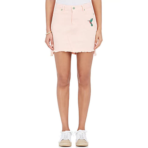 Sandrine Rose Embroidered Denim Miniskirt 24 Pink Muse Boutique Outlet