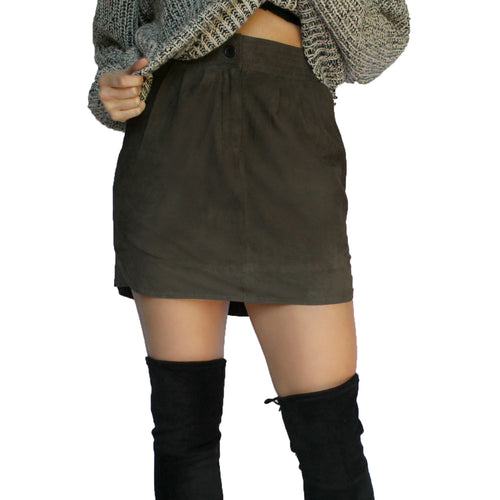 Sen Nerino Suede Skirt Extra Small Olive Muse Boutique Outlet