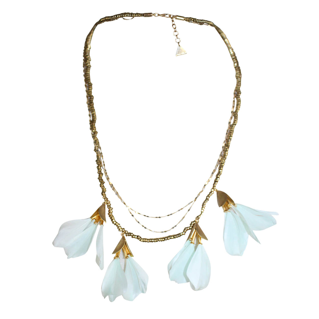 Serefina Mint Dancing Feather Necklace Size One size Muse Boutique Outlet | Shop Designer Necklaces on Sale | Up to 90% Off Designer Fashion