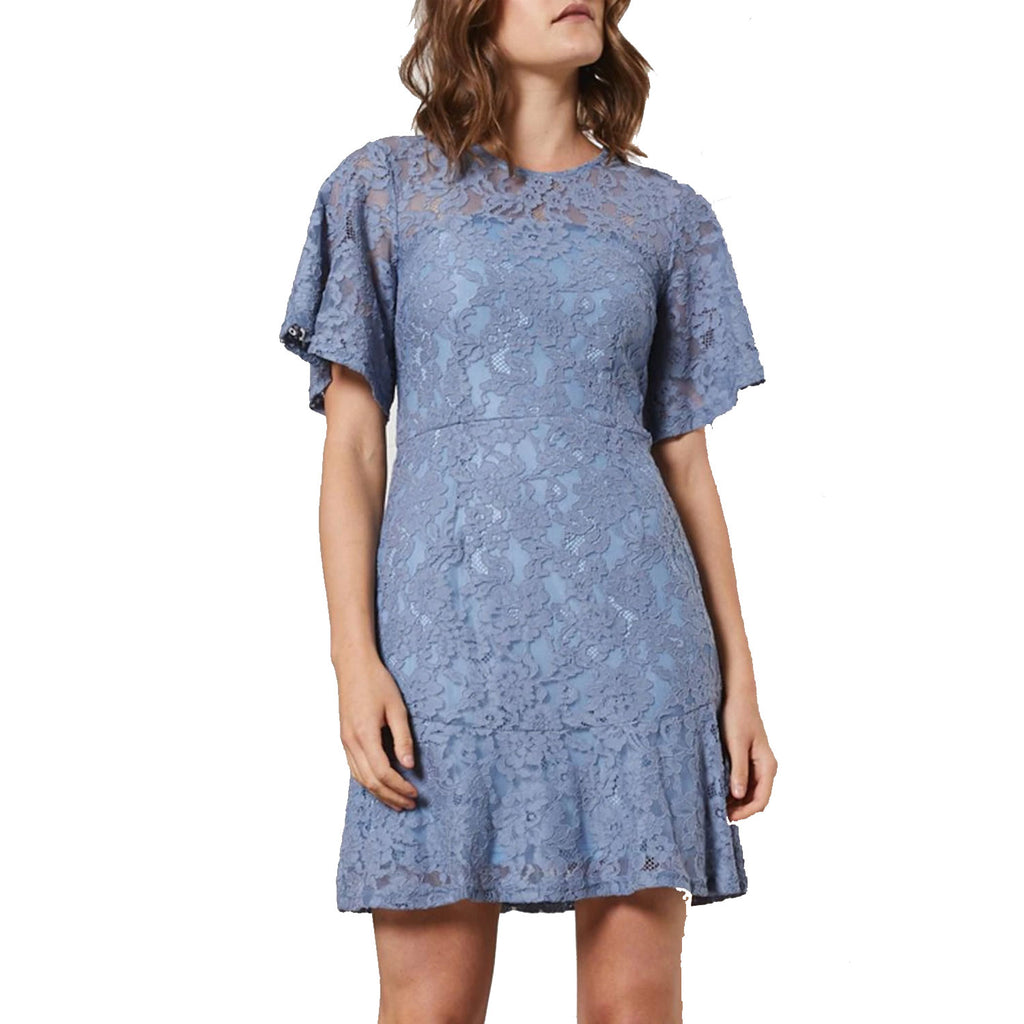 Shilla The Label Slate Blue Delicate Lace Dress Size Extra Small Muse Boutique Outlet | Shop Designer Dresses on Sale | Up to 90% Off Designer Fashion