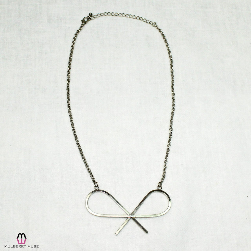 Private Label Silver Silver Bow Drop Necklace Size Silver Muse Boutique Outlet | Shop Designer Clearance Jewelry on Sale | Up to 90% Off Designer Fashion