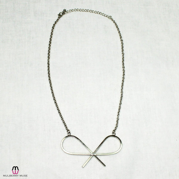 Silver Bow Drop Necklace