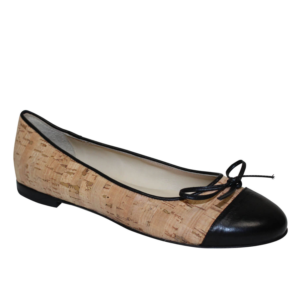 Skylar Blake Black/Tan Cork Ballet Flat Size 7 Muse Boutique Outlet | Shop Designer Flats on Sale | Up to 90% Off Designer Fashion
