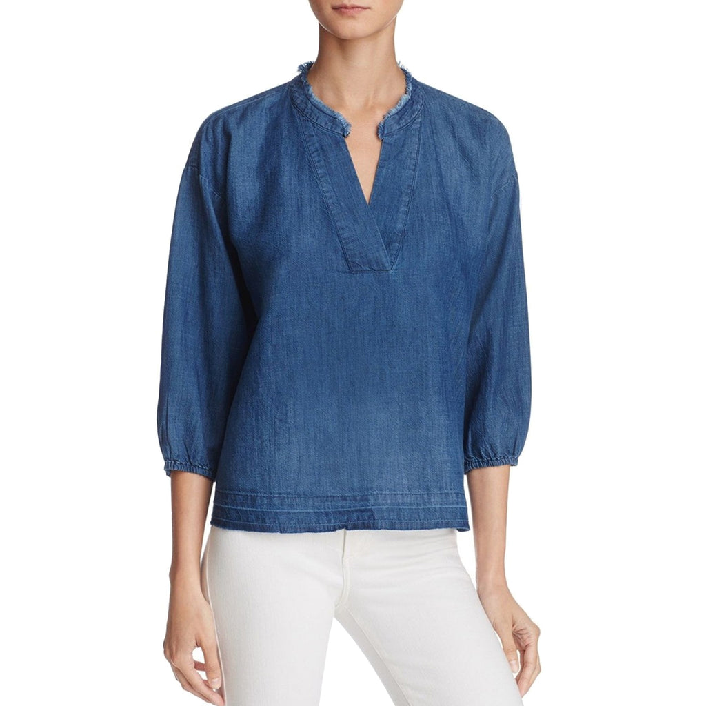 Soft Joie Deep Blue Casden Basic V-Neck Blouse Size Extra Small Muse Boutique Outlet | Shop Designer Clearance Tops on Sale | Up to 90% Off Designer Fashion