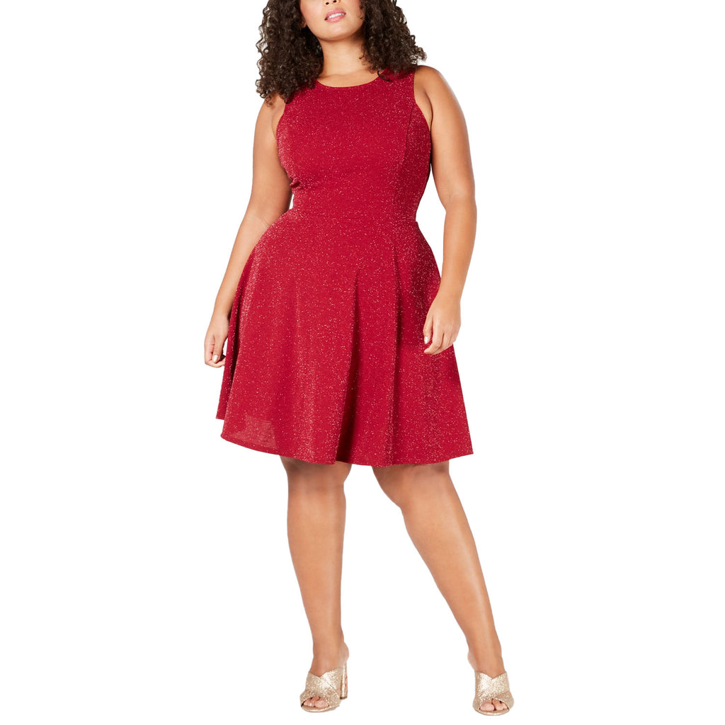 Soprano Red Metallic Fit & Flare Dress Size 1X Muse Boutique Outlet | Shop Designer Clearance Dresses on Sale | Up to 90% Off Designer Fashion