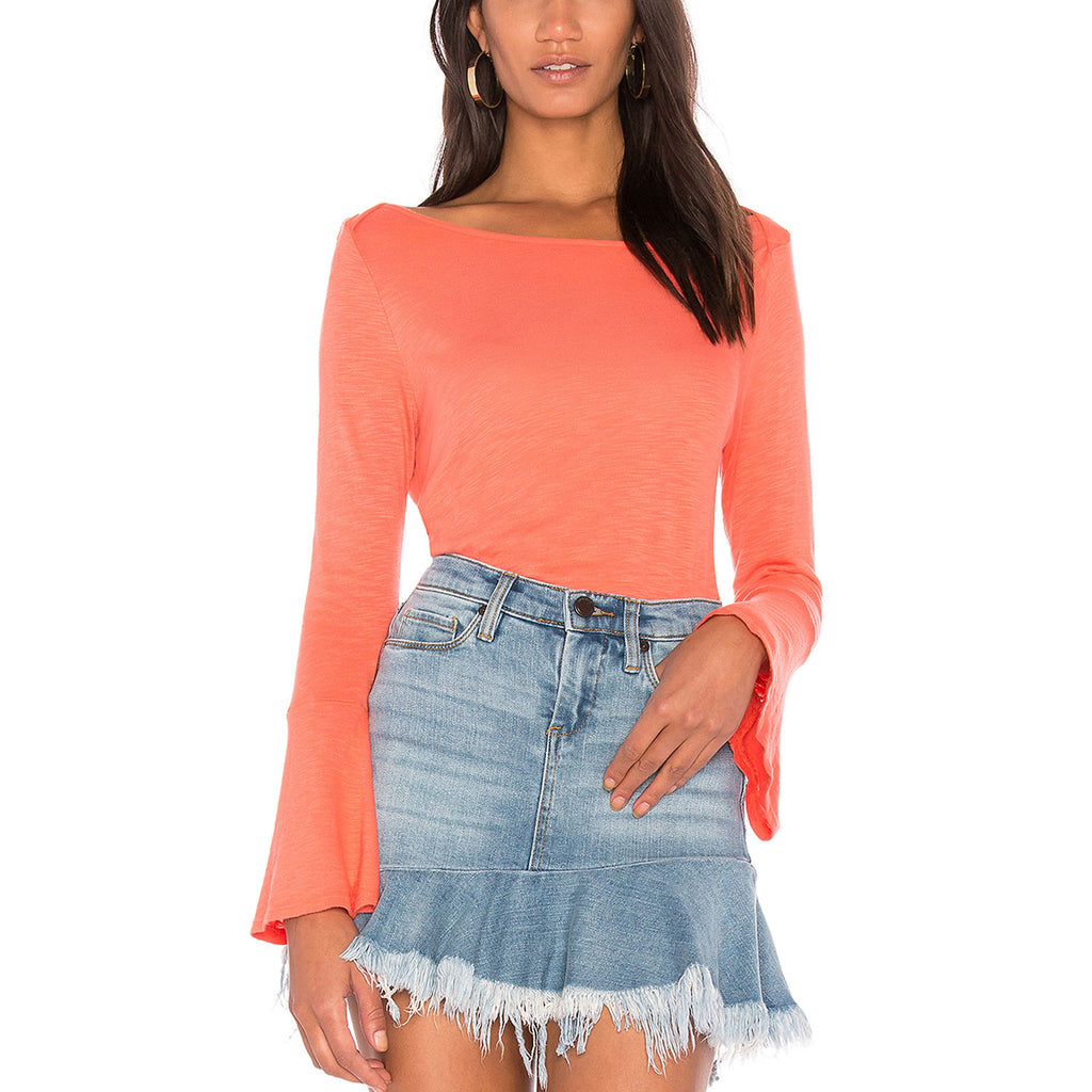 Splendid Bright Coral Bell Sleeve Tee Size Extra Small Muse Boutique Outlet | Shop Designer Long Sleeve Tops on Sale | Up to 90% Off Designer Fashion