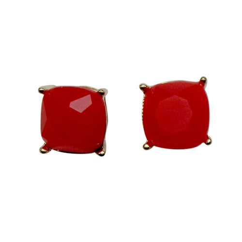 Private Label Square Stud OSFA Red Muse Boutique Outlet