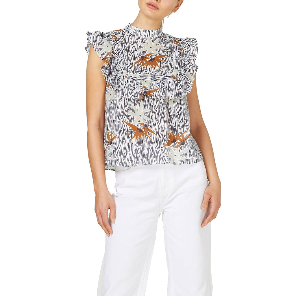 Stevie May Ivory Multi Wayfaring Linen Blend Printed Ruffle Top Size Extra small Muse Boutique Outlet | Shop Designer Sleeveless Tops on Sale | Up to 90% Off Designer Fashion