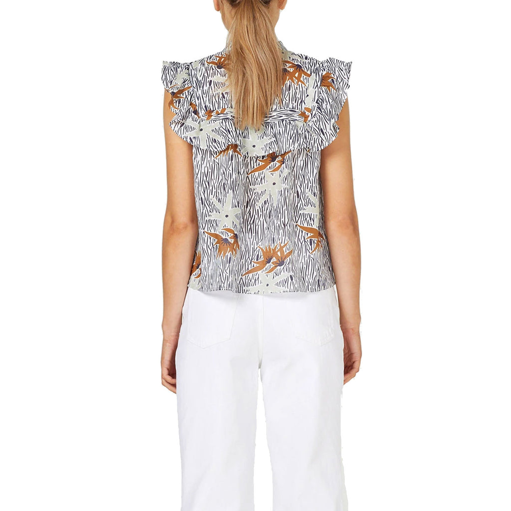 Stevie May  Wayfaring Linen Blend Printed Ruffle Top Size  Muse Boutique Outlet | Shop Designer Sleeveless Tops on Sale | Up to 90% Off Designer Fashion