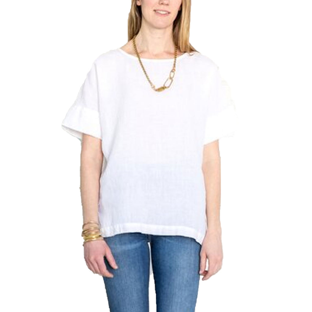 Studio 412 White Linen Short Sleeve Top Size Small Muse Boutique Outlet | Shop Designer Short Sleeve Tops on Sale | Up to 90% Off Designer Fashion