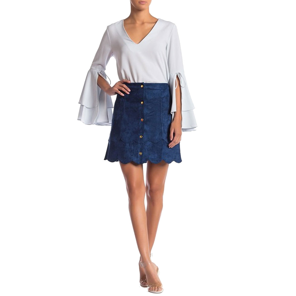 Sugarlips Blue Button Front Suede SKirt Size Small Muse Boutique Outlet | Shop Designer Clearance Skirts on Sale | Up to 90% Off Designer Fashion
