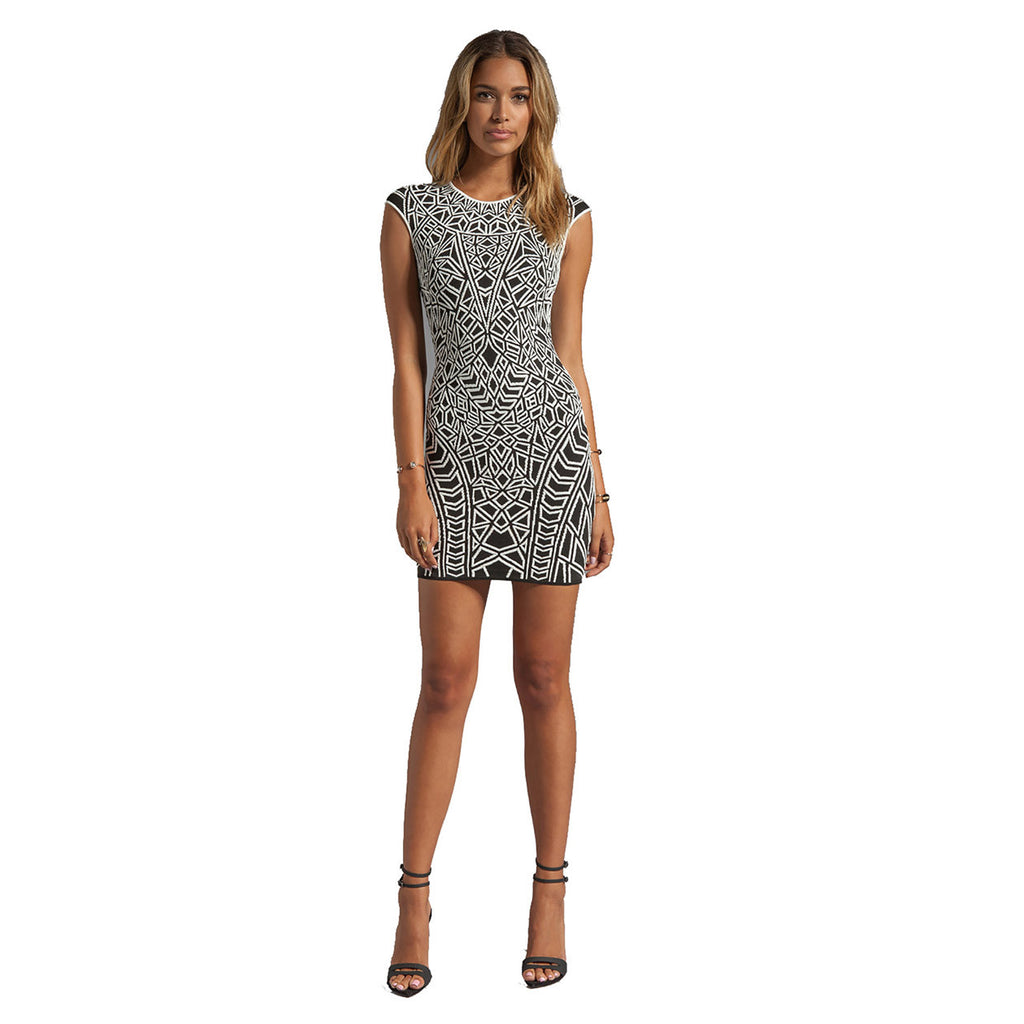 RVN Black/White Geo Jacquard Mini Dress Size Small Muse Boutique Outlet | Shop Designer Clearance Dresses on Sale | Up to 90% Off Designer Fashion