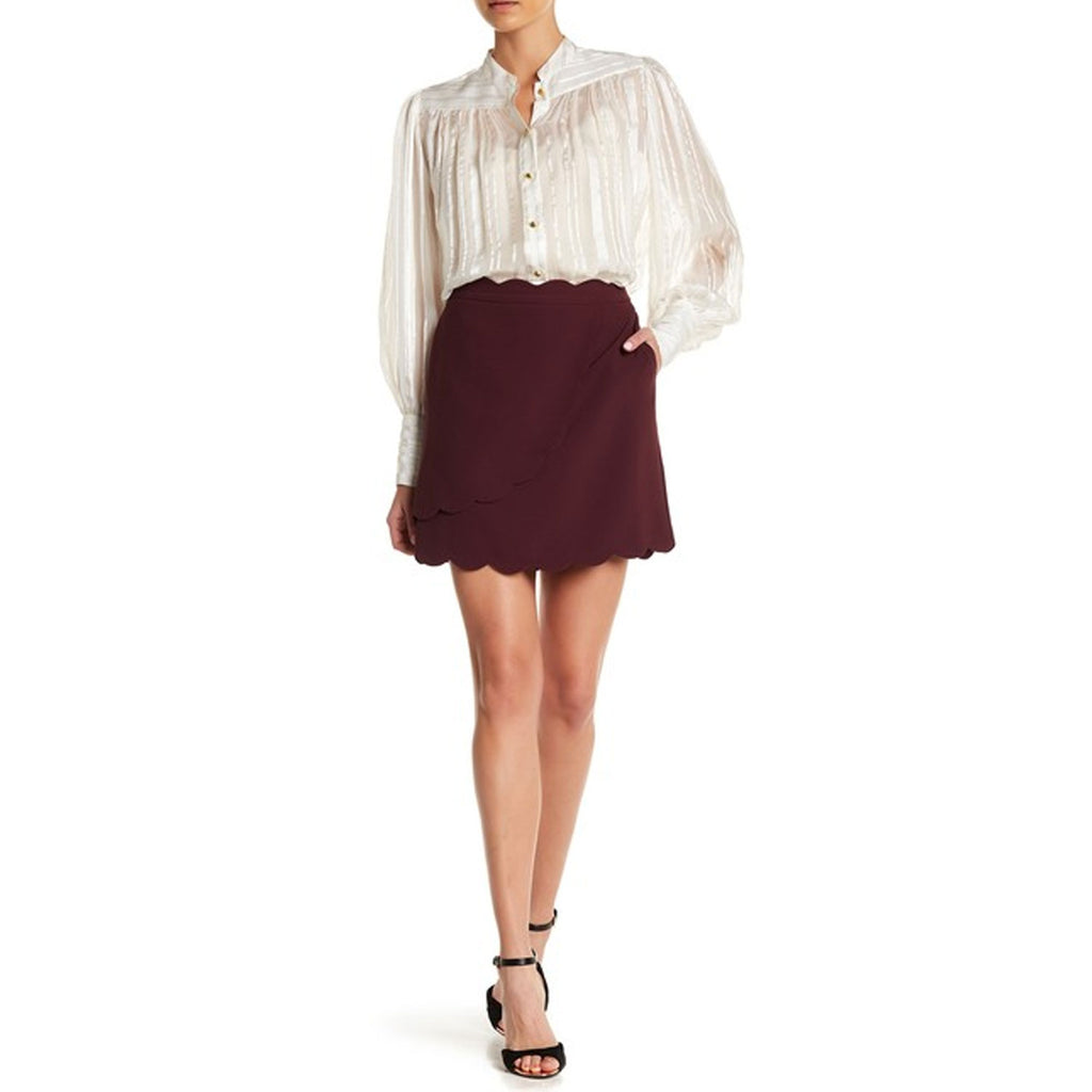 Ted Baker Maroon Nelliye Faux Wrap Mini Skirt Size 0 Muse Boutique Outlet | Shop Designer Skirts on Sale | Up to 90% Off Designer Fashion