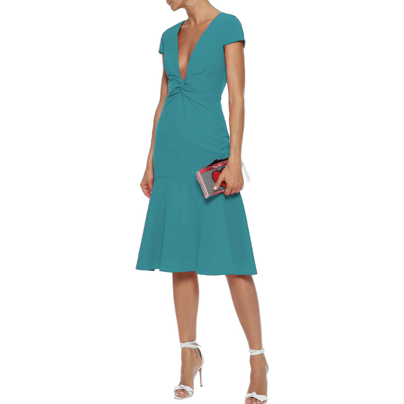 Milly Teal Bella Fluted Cady Dress Size 14 Muse Boutique Outlet | Shop Designer Evening/Cocktail on Sale | Up to 90% Off Designer Fashion