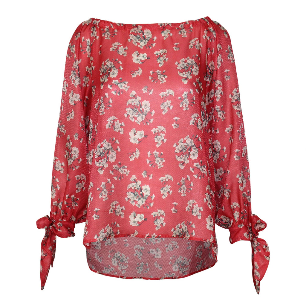 TheKorner Red Floral Tie Sleeve Top Size Medium Muse Boutique Outlet | Shop Designer Clearance Tops on Sale | Up to 90% Off Designer Fashion