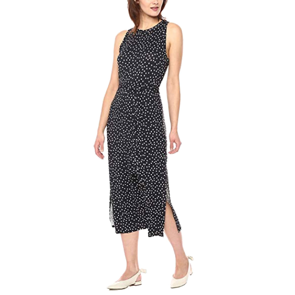 Three Dots Navy Confetti Dot Sleeveless Midi Dress Size Small Muse Boutique Outlet | Shop Designer Dresses on Sale | Up to 90% Off Designer Fashion