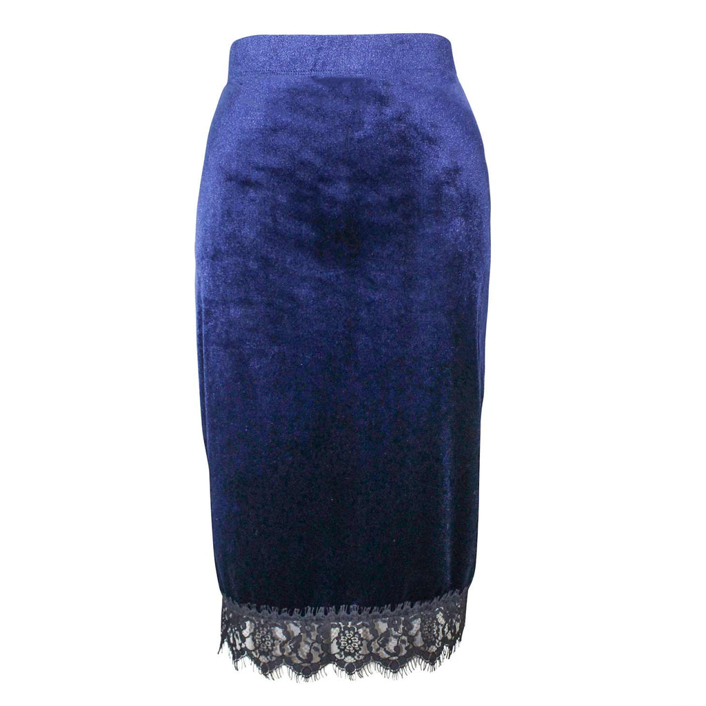 Three Dots Navy Velvet Skirt Size Medium Muse Boutique Outlet | Shop Designer Clearance Skirts on Sale | Up to 90% Off Designer Fashion