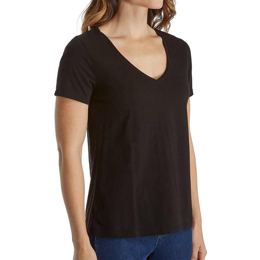 Three Dots Black Sanded Jersey V-Neck Size Extra Small Muse Boutique Outlet | Shop Designer Clearance Tops on Sale | Up to 90% Off Designer Fashion