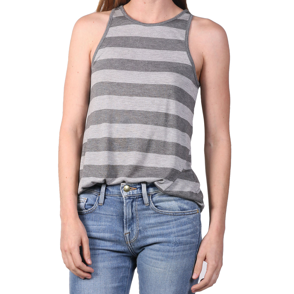 The Lady & The Sailor Grey Stripe Bare Tank - Stripes Size 3 Muse Boutique Outlet | Shop Designer Clearance Tops on Sale | Up to 90% Off Designer Fashion