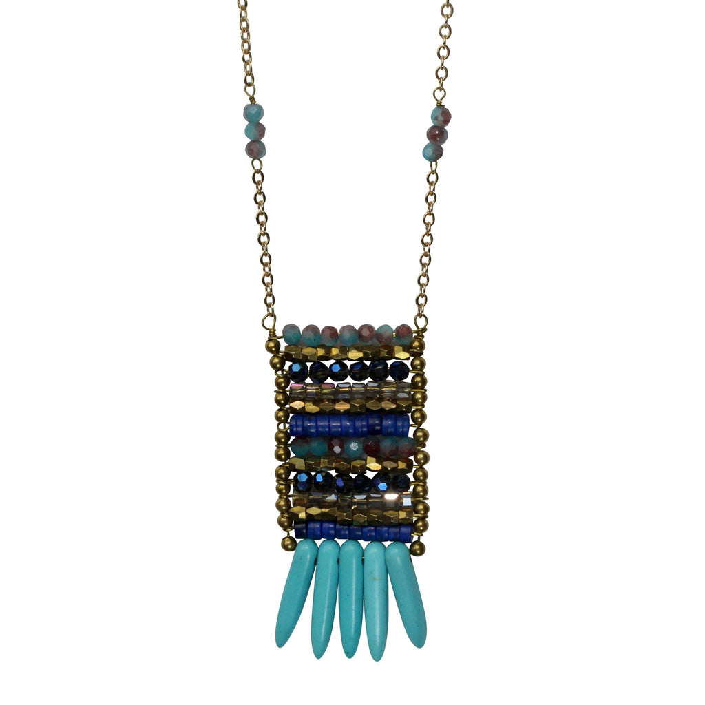 Private Label Blue/Gold Tiered Beaded Pendant Necklace Size OSFA Muse Boutique Outlet | Shop Designer Clearance Jewelry on Sale | Up to 90% Off Designer Fashion