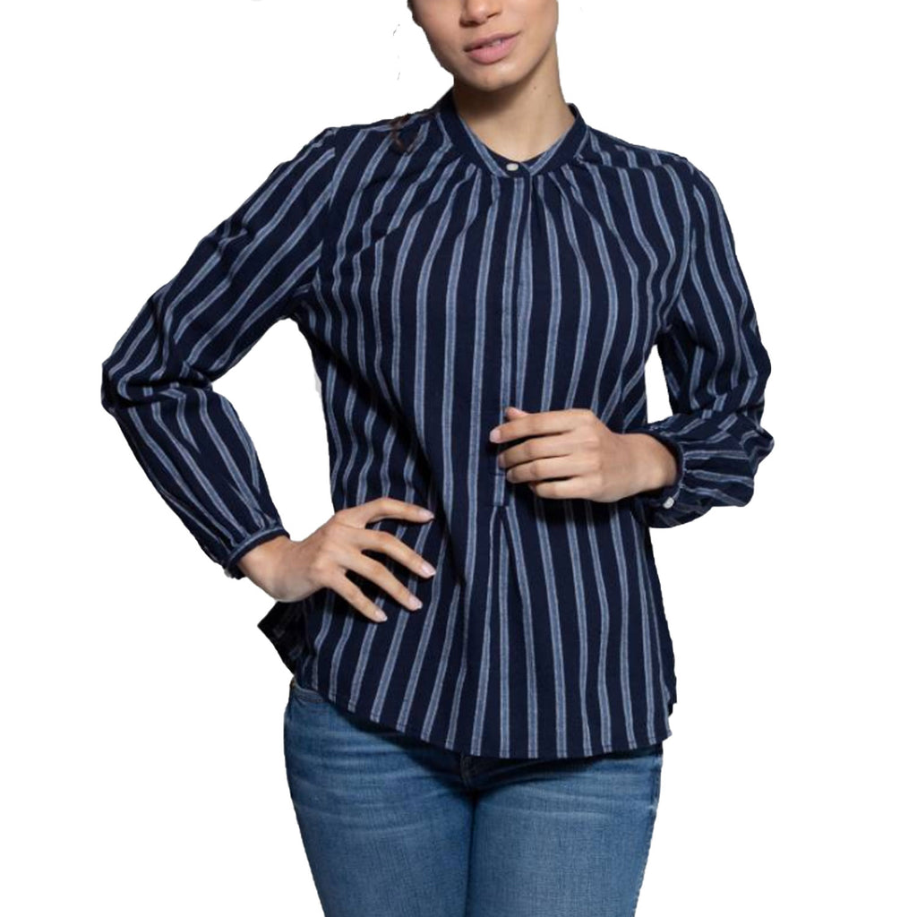 Birds of Paradis by Trovata Navy Stripe Aubree Henley Shirt Size Small Muse Boutique Outlet | Shop Designer Long Sleeve Tops on Sale | Up to 90% Off Designer Fashion