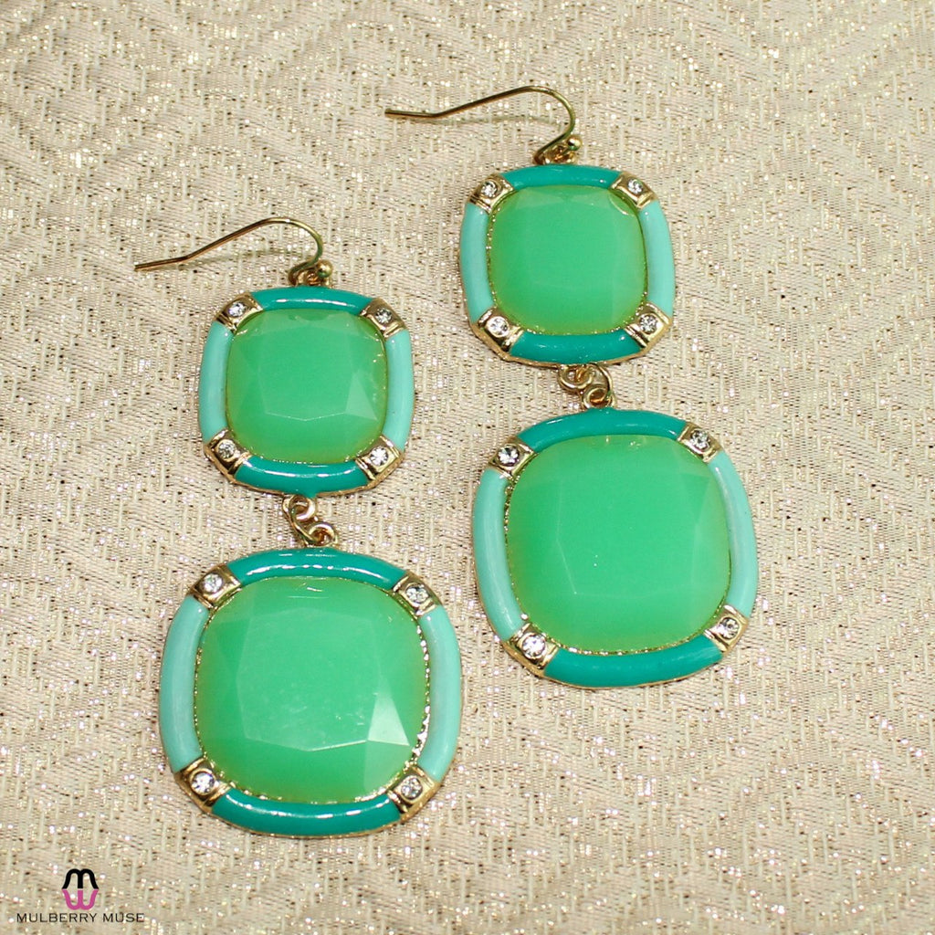 Private Label Turquoise Turquoise Bamboo Drop Earring Size OSFA Muse Boutique Outlet | Shop Designer Clearance Jewelry on Sale | Up to 90% Off Designer Fashion