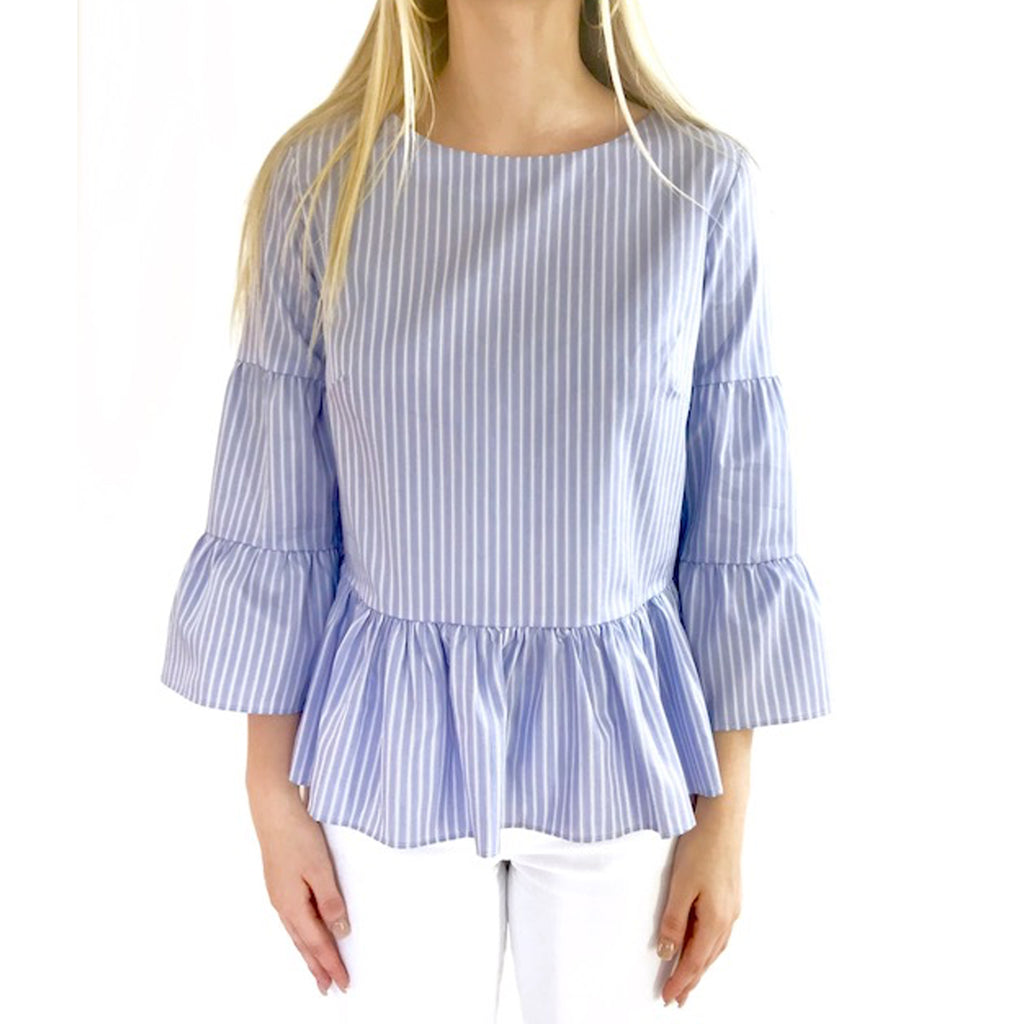 Tyler Boe  Cameron Striped Peplum Blouse Size  Muse Boutique Outlet | Shop Designer Clearance Tops on Sale | Up to 90% Off Designer Fashion