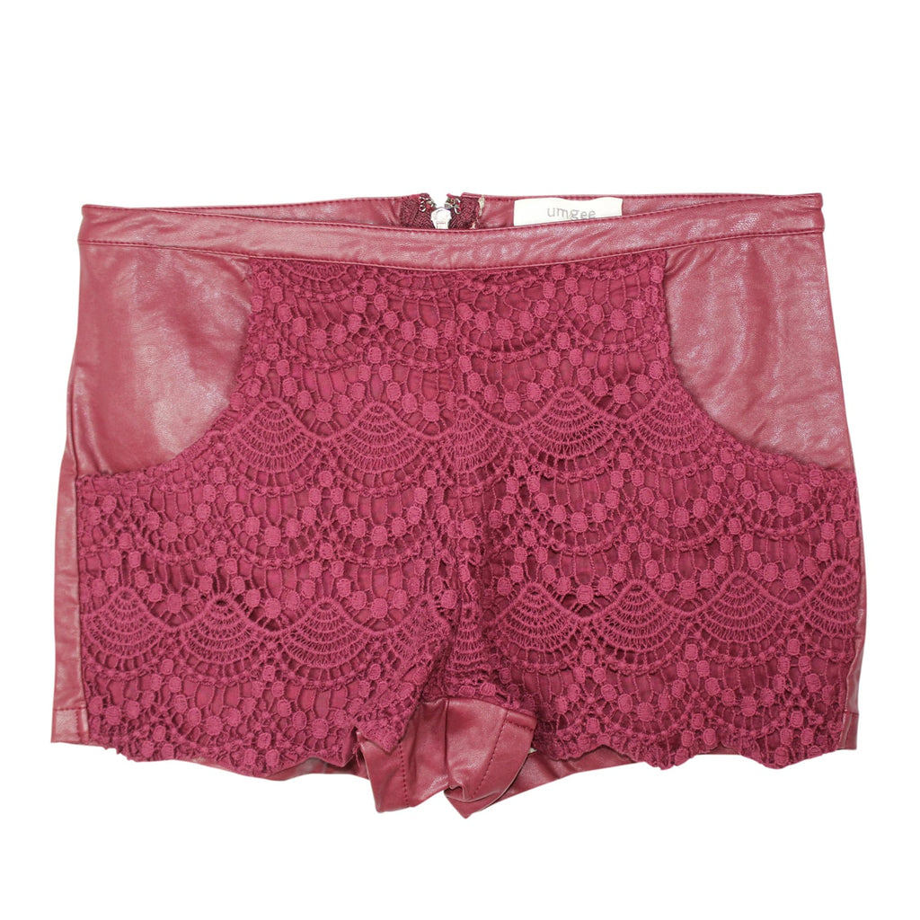 Umgee USA Deep Red Lace Biker Shorts Size Small Muse Boutique Outlet | Shop Designer Clearance Shorts on Sale | Up to 90% Off Designer Fashion