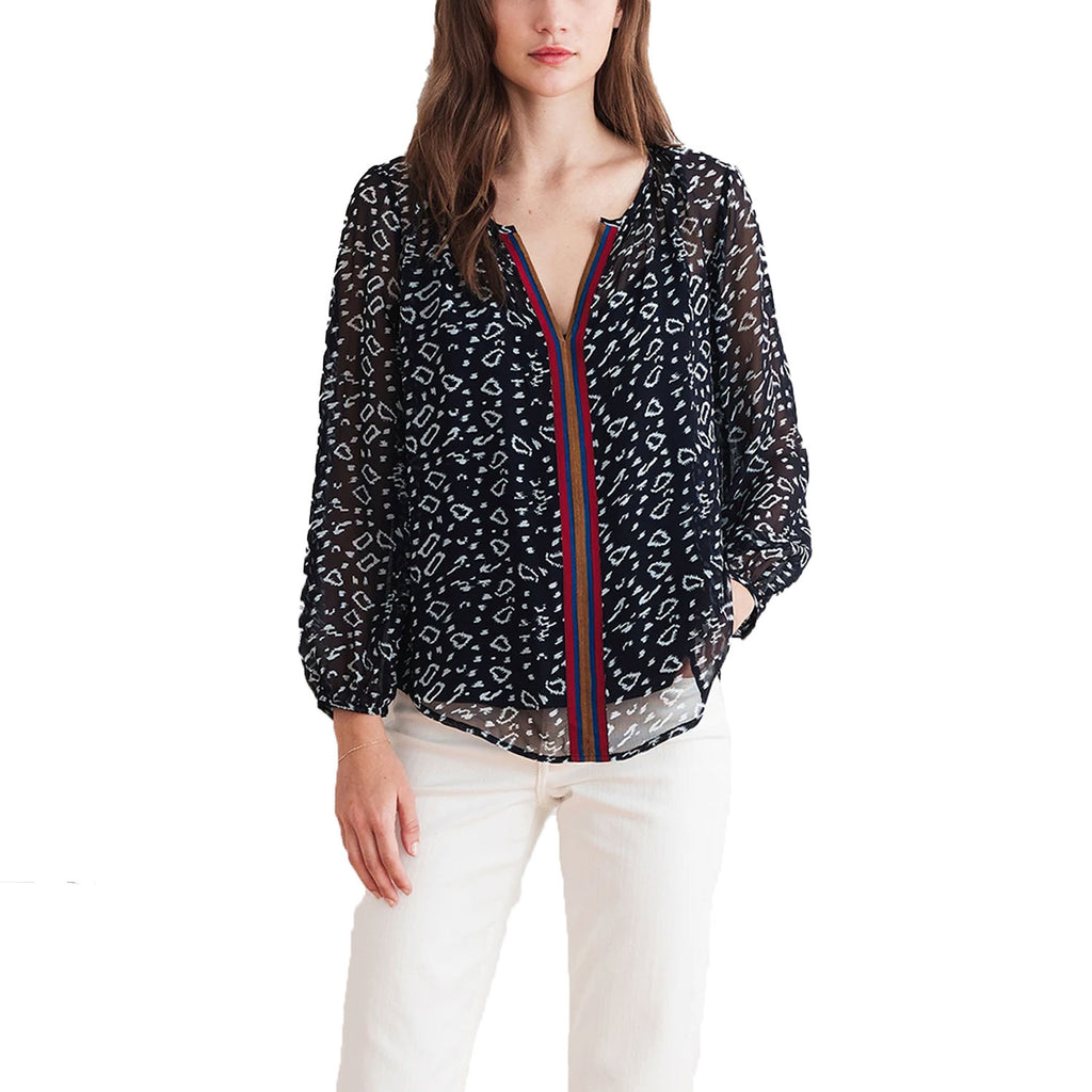 Velvet by Graham and Spencer Navy Janet Leopard Print Top Size Extra Small Muse Boutique Outlet | Shop Designer Blouses on Sale | Up to 90% Off Designer Fashion
